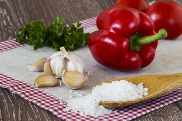 head of garlic and sea salt
