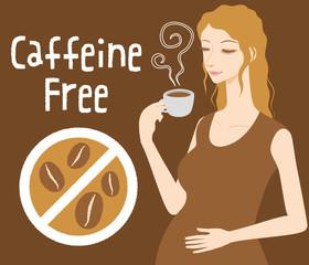 Pregnant woman drinks caffeine free coffee, Decaf beverage, vector illustration