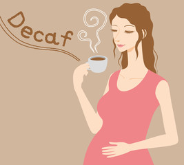 Pregnant woman drinks caffeine free coffee, Decaf beverage, vector illustration