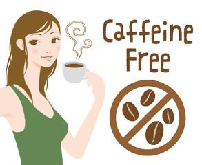 Young woman drinks caffeine free coffee, Decaf beverage, vector illustration