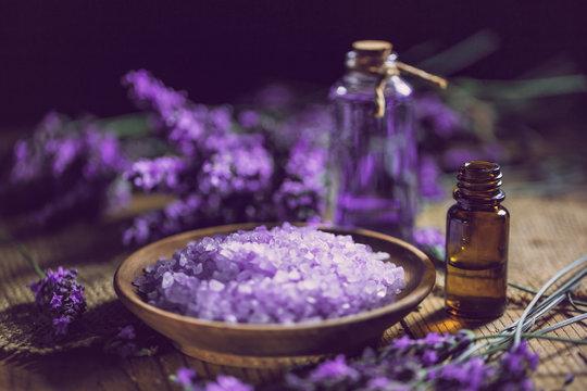 Essential oil and lavender bath salt