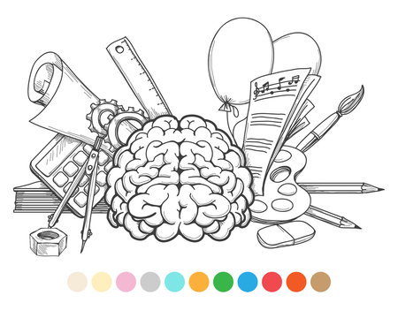Back to school coloring page and color samples. Vector illustration