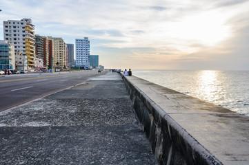 Sunset in the Malecon in Havana, Cuba