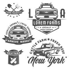 Set of farm truck for logo,emblems and design.