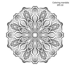 Coloring book for adult and older children. page with mandala made of decorative vintage flowers Outline hand drawn