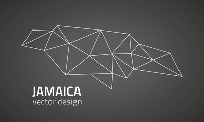 Jamaica black vector triangle map