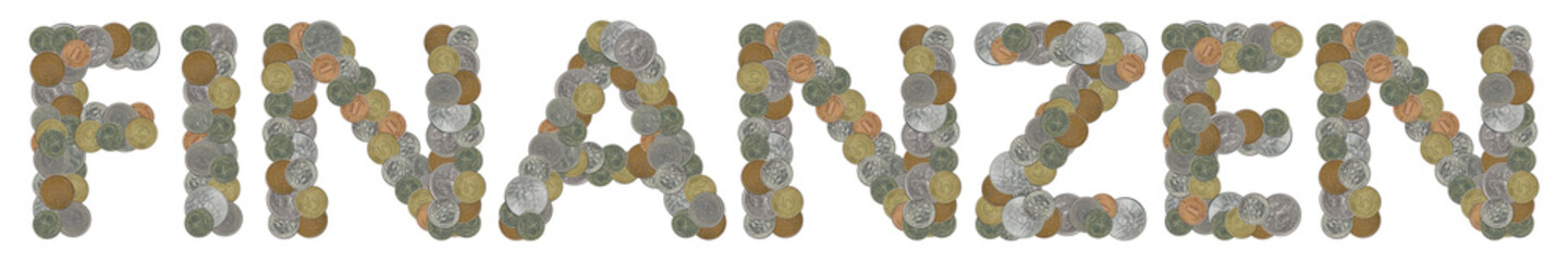 FINANZEN word with Old Coins