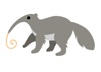 Cute cartoon anteater with long tongue isolated on white background.