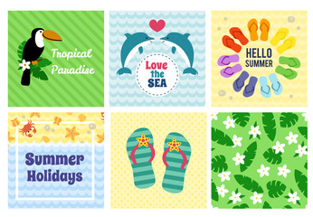Collection of summer decorative cards.