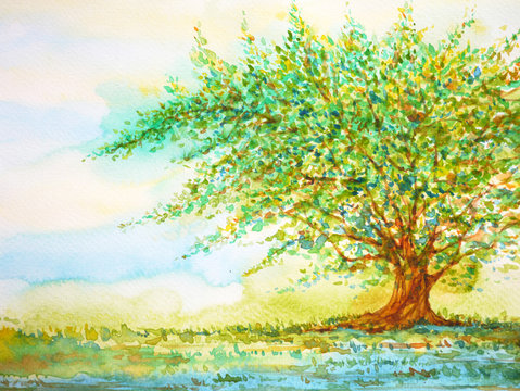 big tree in grass field and blue sky, watercolor painting