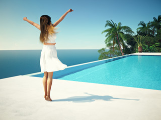 woman in luxury resort near the swimming pool. 3d rendering