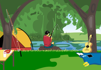 Camping day celebration, river fishing with a tent in the middle of wild nature. Digital vector image