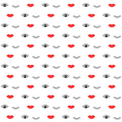 Pattern with lips and eyes