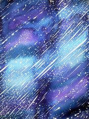 beautiful universe background watercolor painting on paper