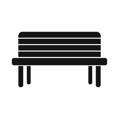 Street bench icon in simple style. Seat symbol isolated vector illustration