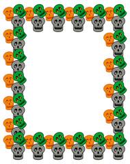 Frame with skulls and bones. Vector clip art.