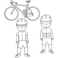 vector set of cyclist