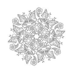 Mendie Mandala with butterflies on meadow. Vector illustration