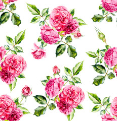 Seamless pattern with blooming roses. Flower backdrop. Watercolor hand drawing illustration.
