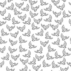 Seamless vector pattern with birds. Contour birds Wallpapers
