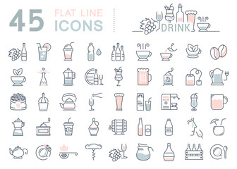 Set Vector Flat Line Icons Drinks and Alcohol