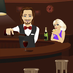 Young bartender pouring red wine into glass while beautiful blonde looking at him holding glass of champagne