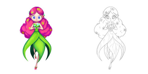 Princess 26: The Morning Glory Flower Fairy, Butterfly Princess. Coloring Book, Outline Sketch, Human Character Design isolated on White Background
