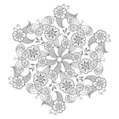 Mendie Mandala with butterflies, flowers and leaves. Zenart inspired.