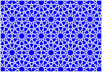 Colorful geometric figures Arab and oriental imitating stained glass blue and silver