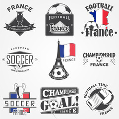 Football Championship set. Soccer time. Detailed elements. Old retro vintage grunge. Scratched, damaged, dirty effect. Typographic labels, stickers, logos and badges.