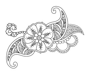 Mendie floral tattoo design isolated.