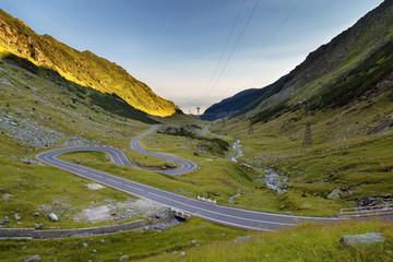 Transfagarasan mountain road in summer, at sunrise