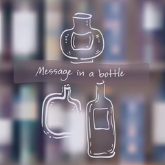 Message in a bottle. Bottles in hand drawn white line style over blurred mesh background. Separated layers, vector eps 10 illustration.