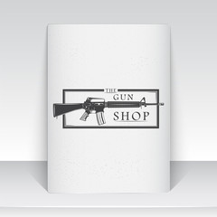 American gun shop. Firearms store. Hunting gun. Detailed elements. Typographic labels, stickers, logos and badges. Sheet of white paper.