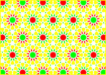 Geometric figures of styles arabic and oriental very colouring yellow red and green