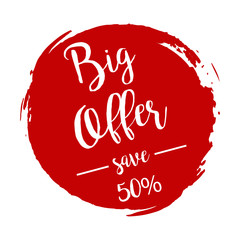 Big Offer grunge style red colored on white background