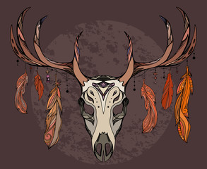 Illustration of a deer skull with feathers. Sketch of tattoo sticker.