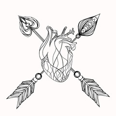 Illustration of heart and arrow. Vector element for tattoo sketch, printing on T-shirts and your creativity