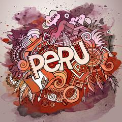 Cartoon vector hand drawn doodle Peru illustration.