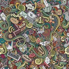 Cartoon vector doodles hand drawn internet social media seamless