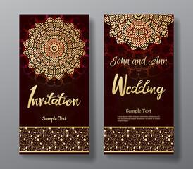 Wedding invitation card with arabic mandala background.