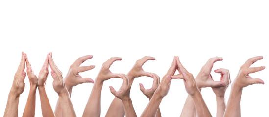 Das Wort Message aus Händen