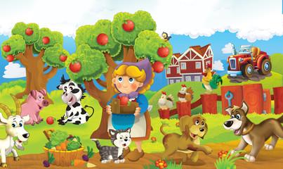 Cartoon happy and funny colorful farm scene - illustration for children