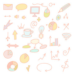 Social icons and business icons hand drawn icon set. Doodle collection of objects.