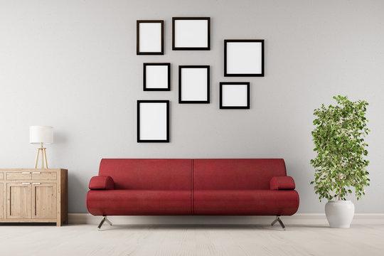 Viele leere Rahmen hängen an Wand