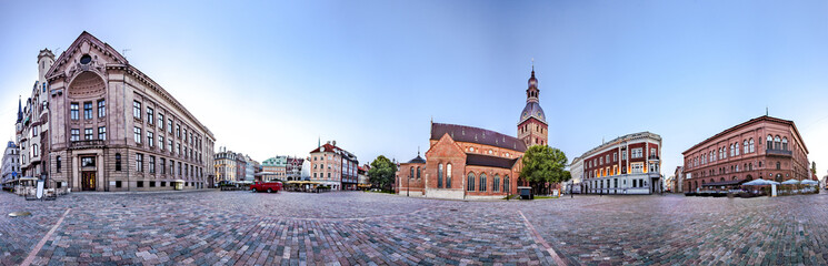 360 degree panoramic Skyline view of Riga old town Dome Square During Dawn time. Montage from 47 HDR images