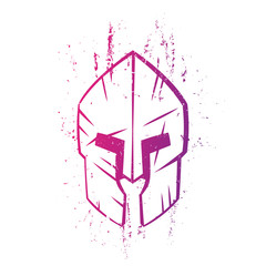 spartan helmet with scratches on white, vector illustration