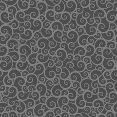 Seamless (repeatable) scrolls and swirls pattern background of two flat shades gray chalkboard colors