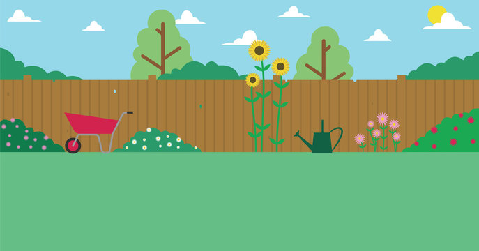 Illustration Of Domestic Garden For Background Use