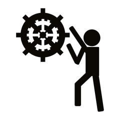 flat design person with gears icon vector illustration